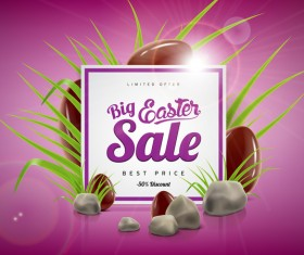 Easter sale advertising background with chocolate eggs vector 04