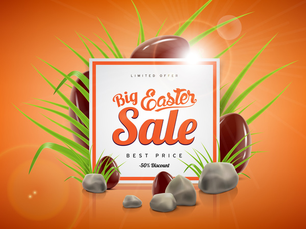 Easter sale advertising background with chocolate eggs vector 05