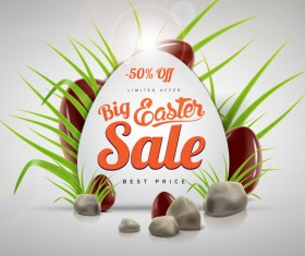 Easter sale advertising background with chocolate eggs vector 06