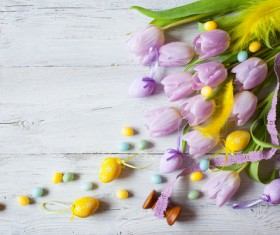 Easter wooden background with eggs, candy and flowers Stock Photo 03