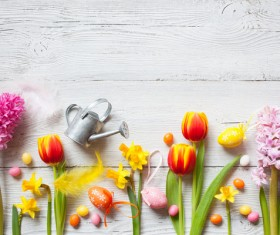 Easter wooden background with eggs, candy and flowers Stock Photo 07