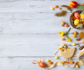 Easter wooden background with eggs, candy and flowers Stock Photo 13