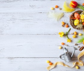 Easter wooden background with eggs, candy and flowers Stock Photo 14