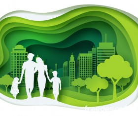 Ecology with family concept template vector 01