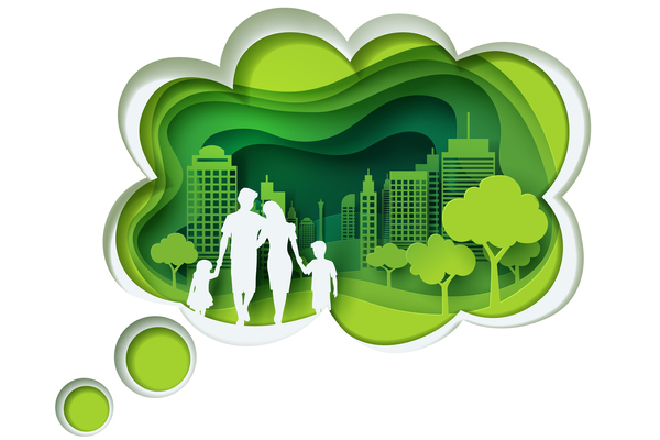Ecology with family concept template vector 02