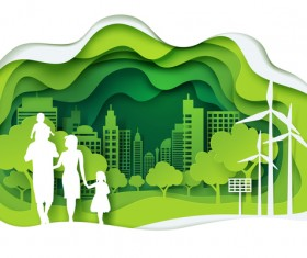 Ecology with family concept template vector 03