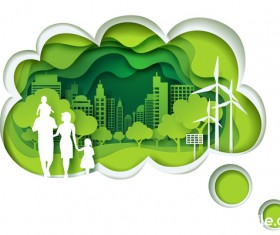 Ecology with family concept template vector 04