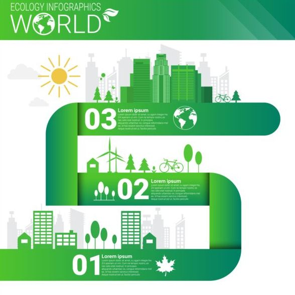Ecology world infographics design vector 04