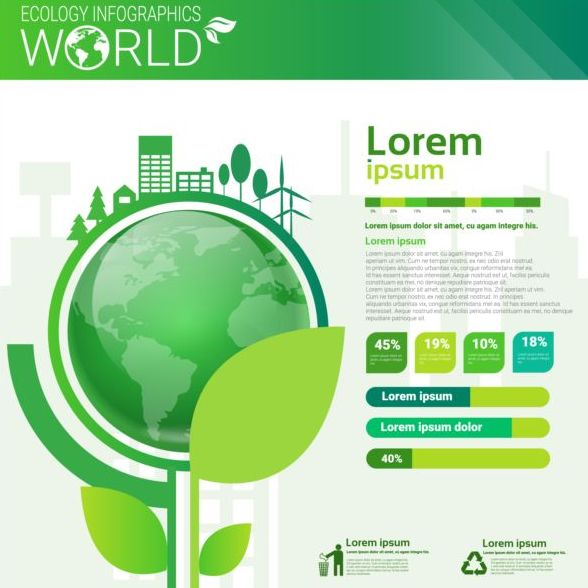 Ecology world infographics design vector 06