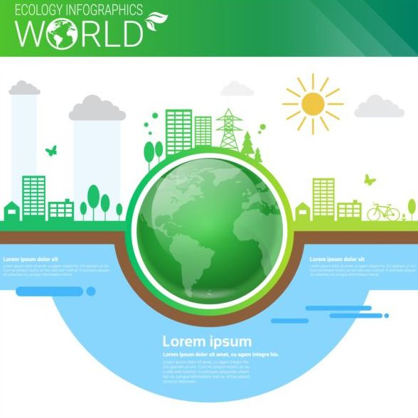 Ecology world infographics design vector 10
