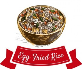 Egg fried rice chinese cuisine vector