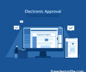 Elctronic approval business background vector