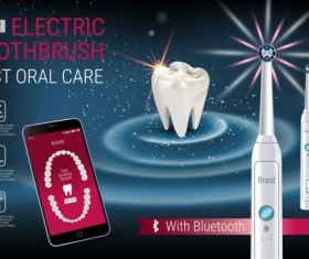 Electric toothbrush advertising vector template 01