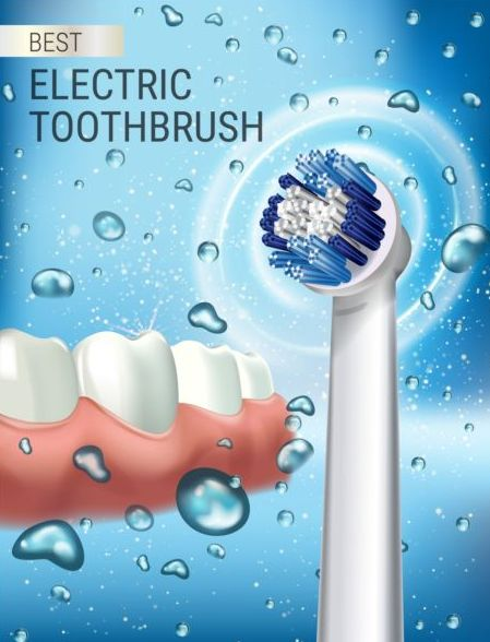 Electric toothbrush advertising vector template 03