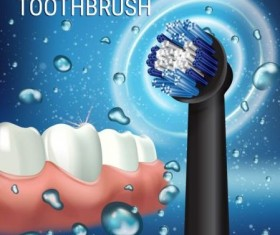 Electric toothbrush advertising vector template 04