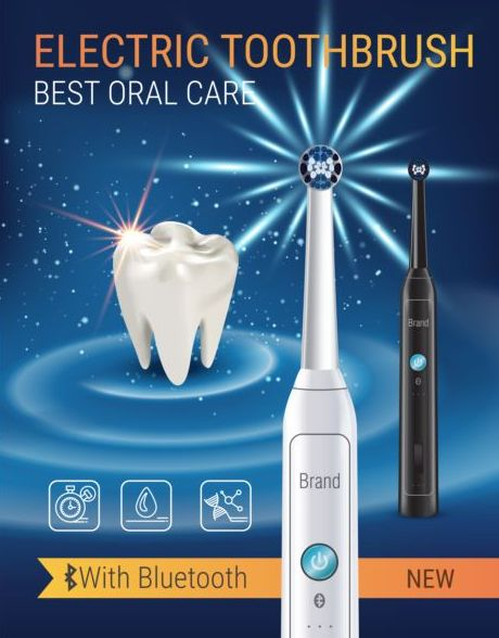 Electric toothbrush advertising vector template 05