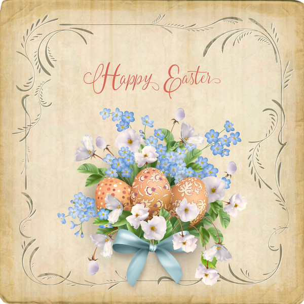 Elegant easter card with parchment background vector 01