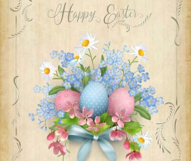 Elegant easter card with parchment background vector 02