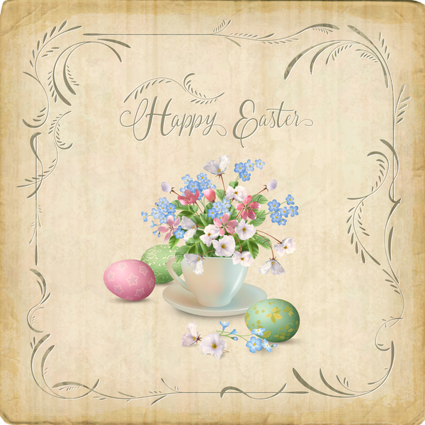 Elegant easter card with parchment background vector 03