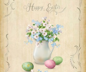 Elegant easter card with parchment background vector 04