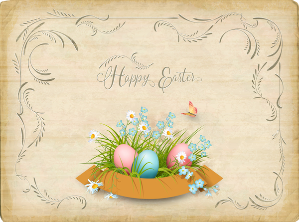 Elegant easter card with parchment background vector 05