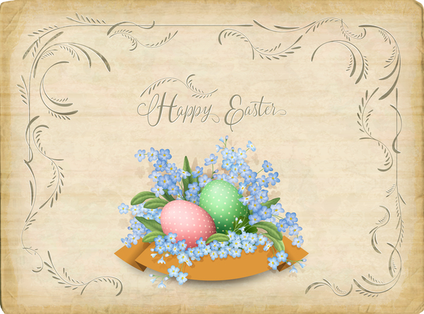 Elegant easter card with parchment background vector 06