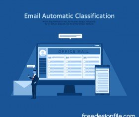 Email automatic classification business background vector