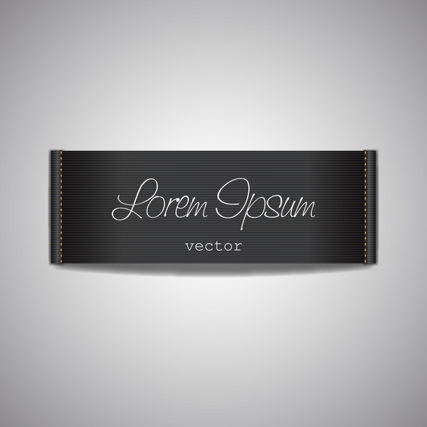 Fabric tag black template vector 01