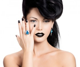 Fashion Black Makeup with Gemstone Rings HD picture 04