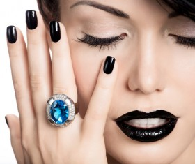 Fashion Black Makeup with Gemstone Rings HD picture 05
