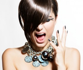 Fashion hairstyles and jewelry Stock Photo 04