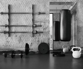 Fitness room black and white photo Stock Photo