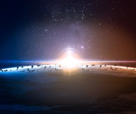 Floating on the surface of the planet meteorite HD picture