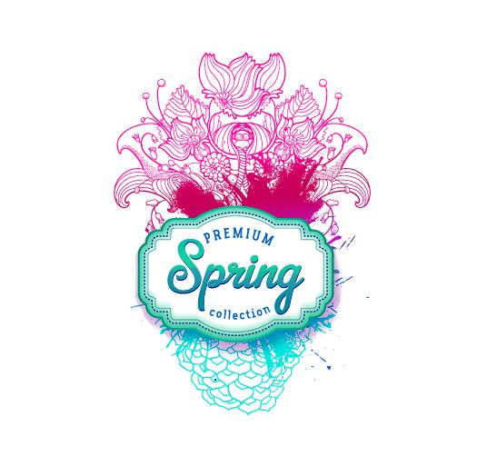 Flower lines with spring card vector