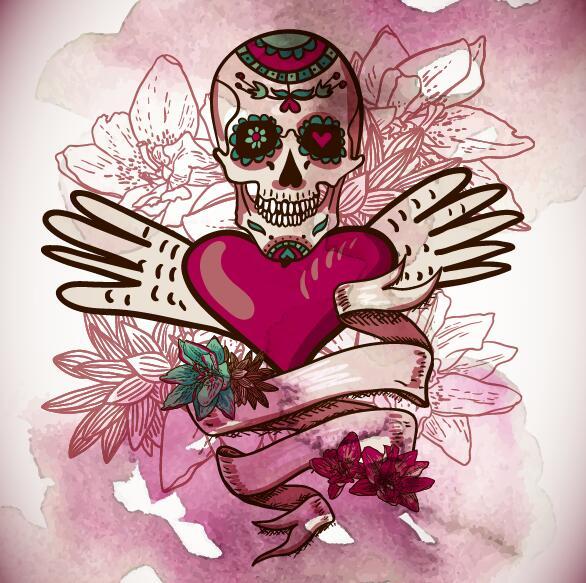 Flower skull with heart background vector 01