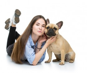 French bulldog and woman taking pictures Stock Photo