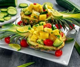Fresh pineapple salad Stock Photo