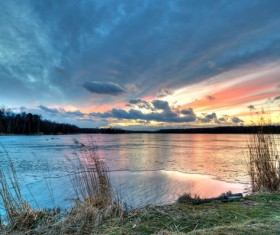 Frozen lake and sunset HD picture 01