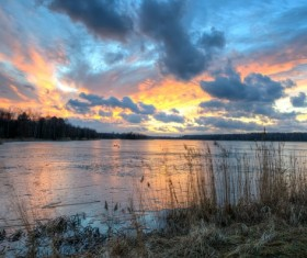 Frozen lake and sunset HD picture 04