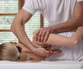Frozen shoulder massage technique Stock Photo 03