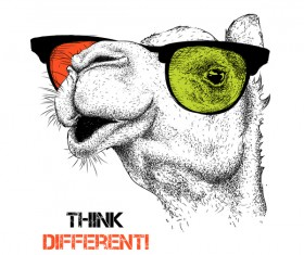 Funny camel and glasses vector material 05