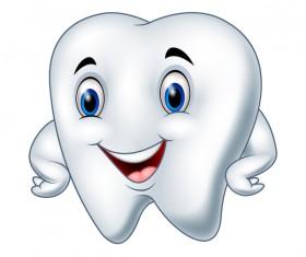 Funny cartoon tooth vector illustration 01
