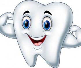 Funny cartoon tooth vector illustration 05