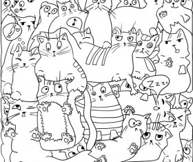 Funny cat hand darwn seamless pattern vector 02
