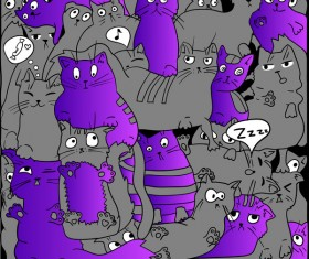 Funny cat hand darwn seamless pattern vector 03
