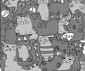 Funny cat hand darwn seamless pattern vector 04