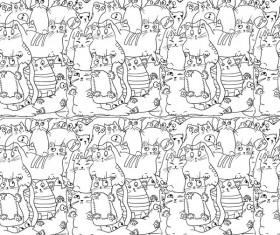 Funny cat hand darwn seamless pattern vector 05