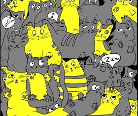 Funny cat hand darwn seamless pattern vector 06