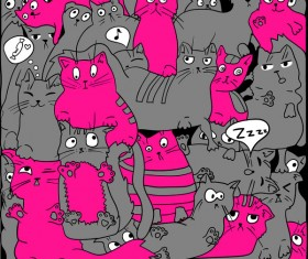 Funny cat hand darwn seamless pattern vector 08