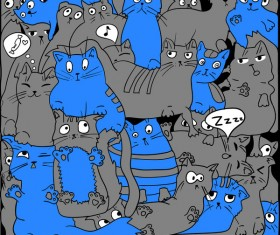 Funny cat hand darwn seamless pattern vector 09
